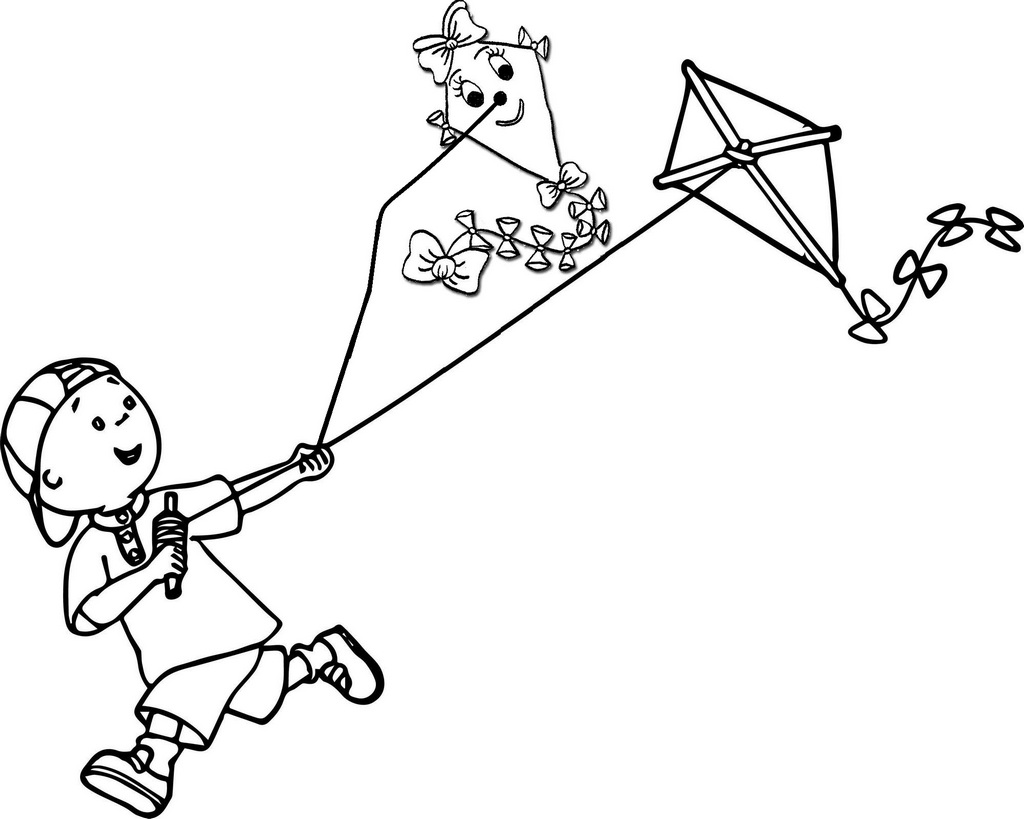 a boy flying kites coloring pages