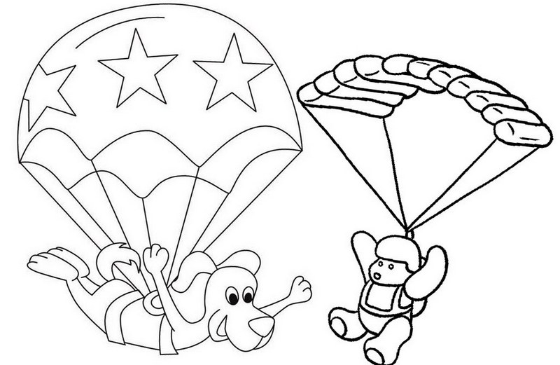 animal cartoon parachute coloring page