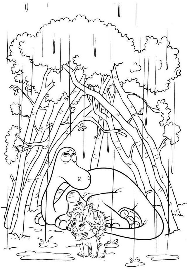 arlo and spot taking shelter from the rain under the shrubs the good dinosaur coloring page