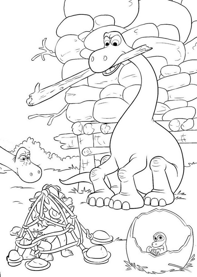 arlo managed to capture spot the good dinosaur coloring page
