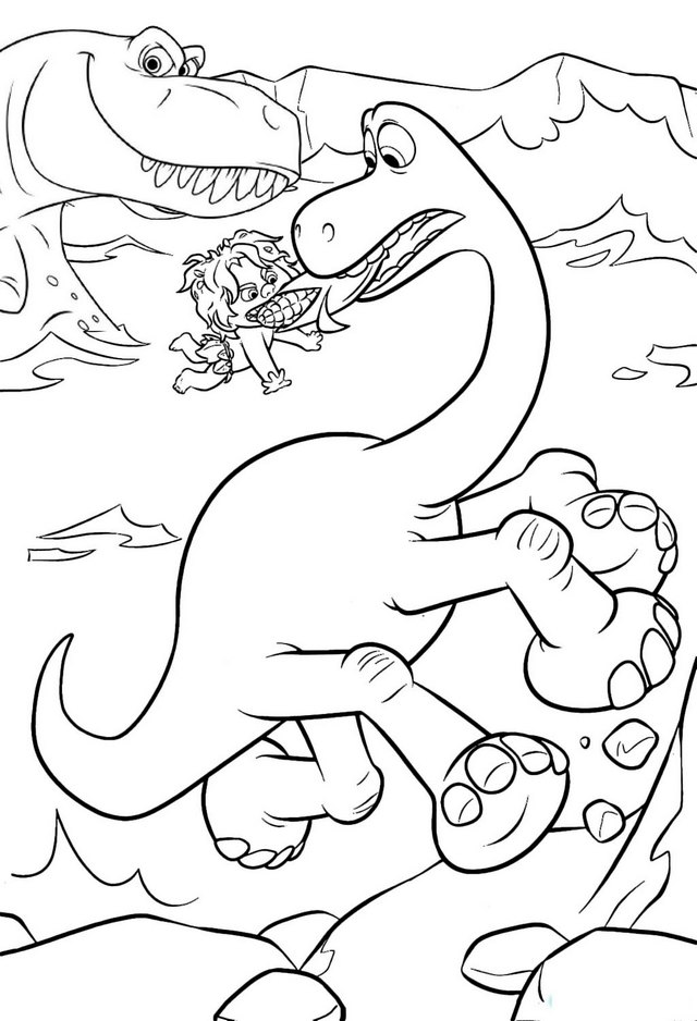 arlo saves spot the good dinosaur coloring pages for kids