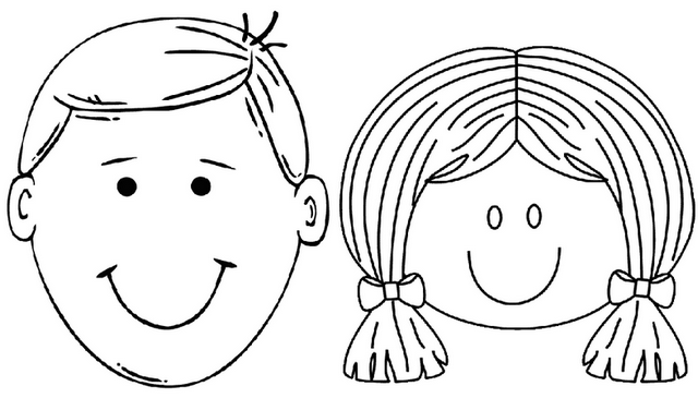 boy and girl face coloring page
