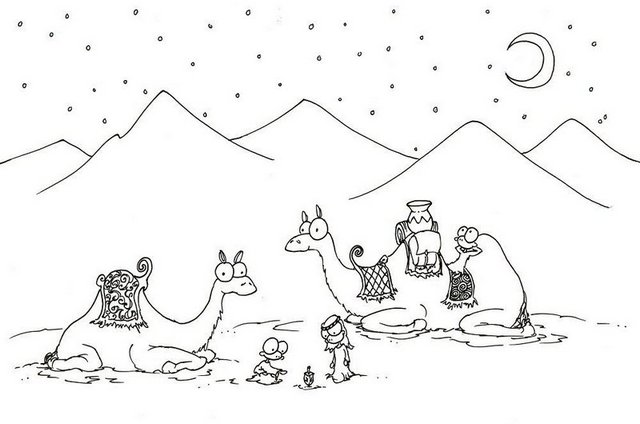 camel in sahara desert coloring page
