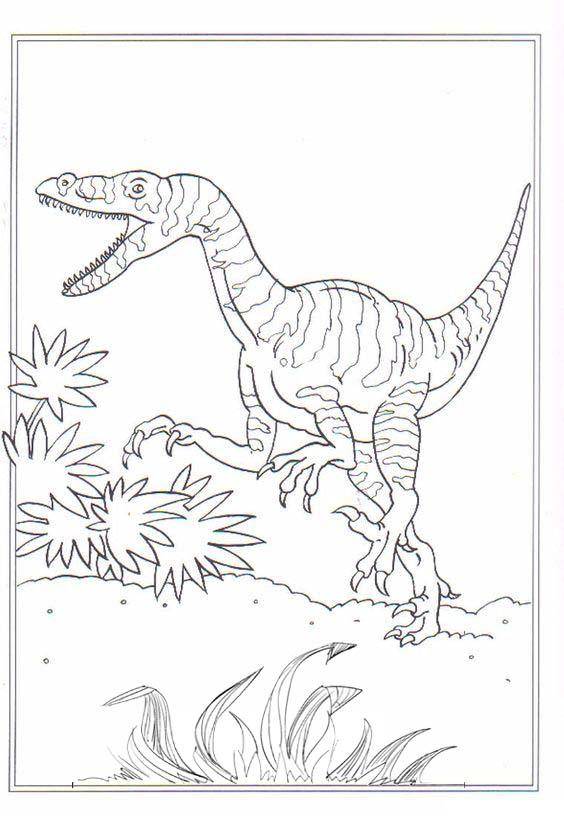 dino velociraptor coloring page