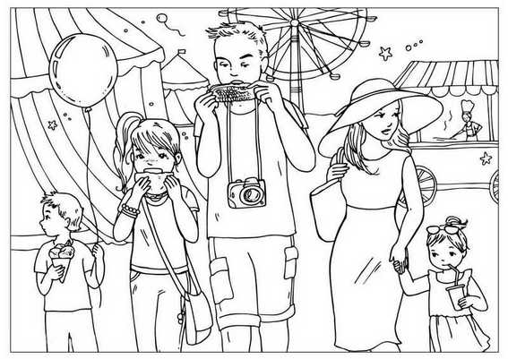 family on vacation coloring page