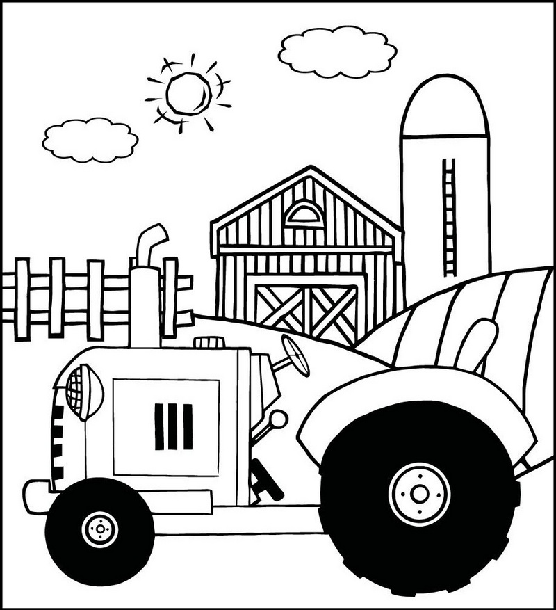 farm machinery tractor coloring page