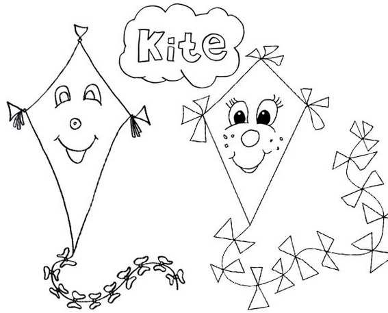 fun face smiling kite coloring page