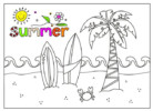 Printable I Love Summer Coloring Pages for Kindergarten