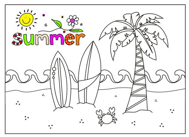 fun summer time coloring pages for children
