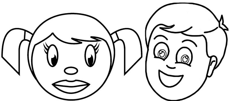 happy face coloring page for girl and boy