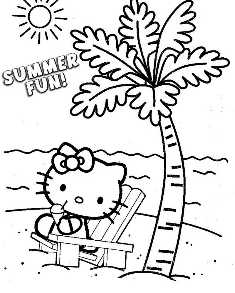 hello kitty themed summer fun coloring pages for kids