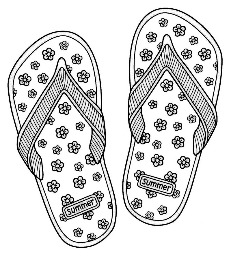 love summer flip flop sandals coloring page