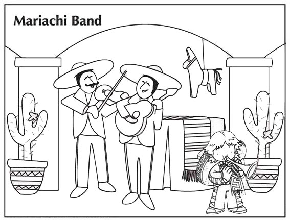 mariachi band coloring pages