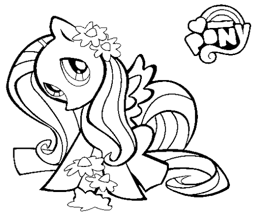 princess fluttershy coloring page for kids