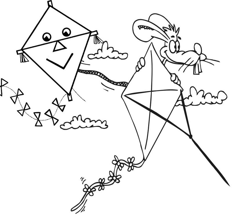printable cartoon kites coloring page