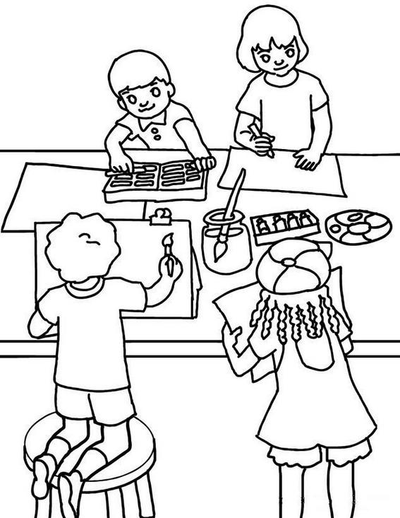 students painting in classroom coloring page