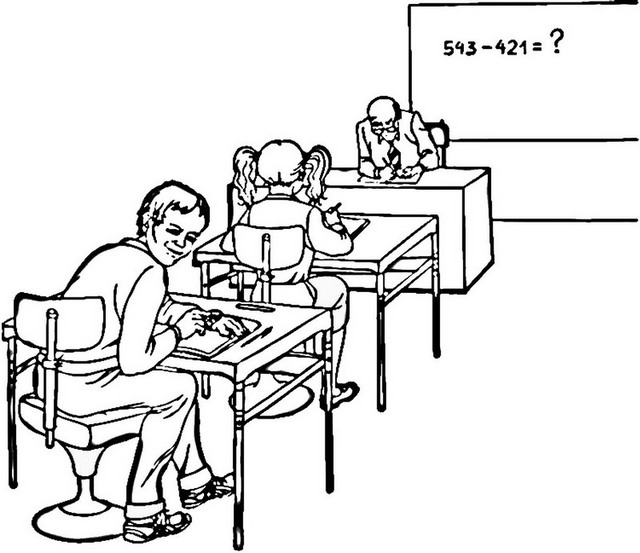 teacher and students classroom coloring page
