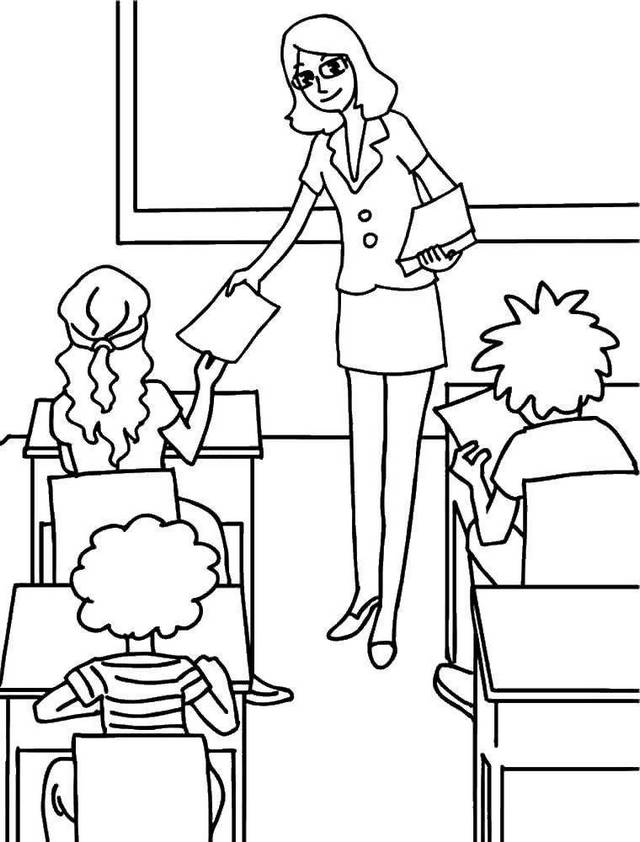 teacher distributing a task to the students in classroom coloring page