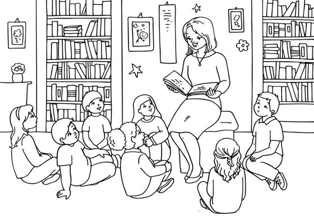 teacher telling story to the students in classroom coloring page
