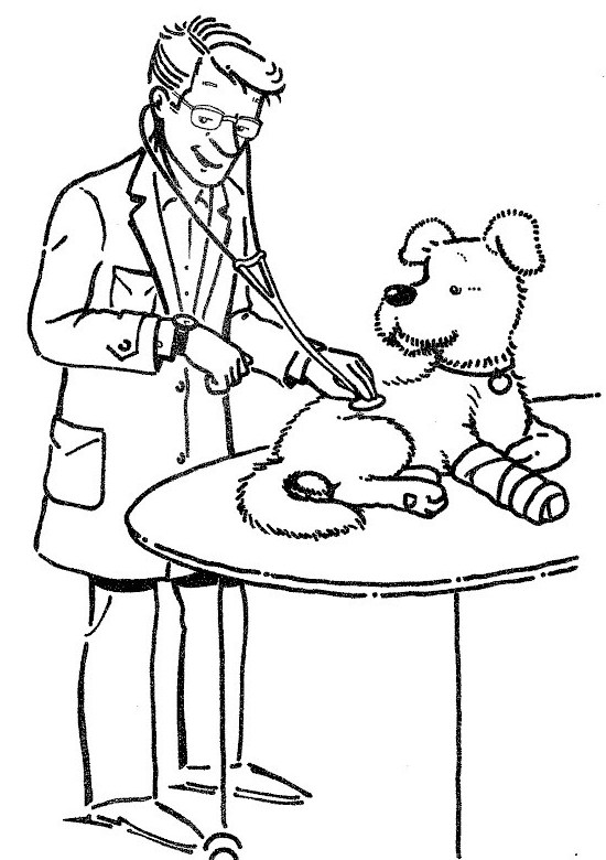 veterinarian check signs iill health dog coloring page