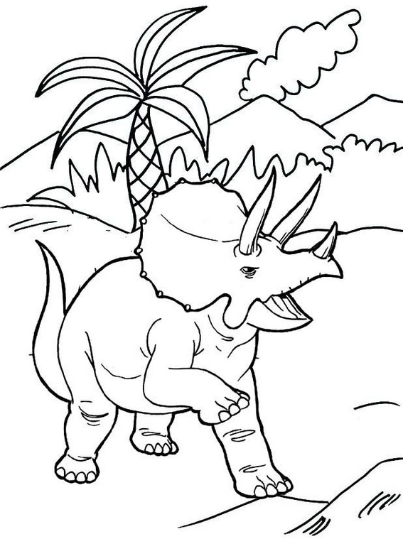 Best Triceratops with Volcano Scenery Coloring Pages