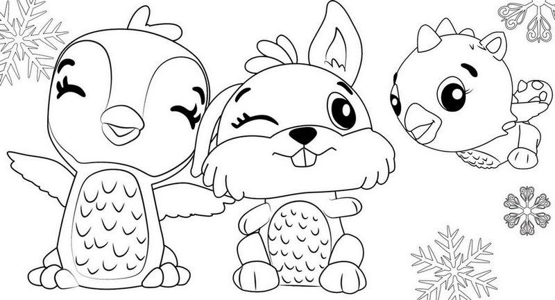 Bunwee Cloud Draggle and Giggling Penguala from Hatchimals Coloring Page