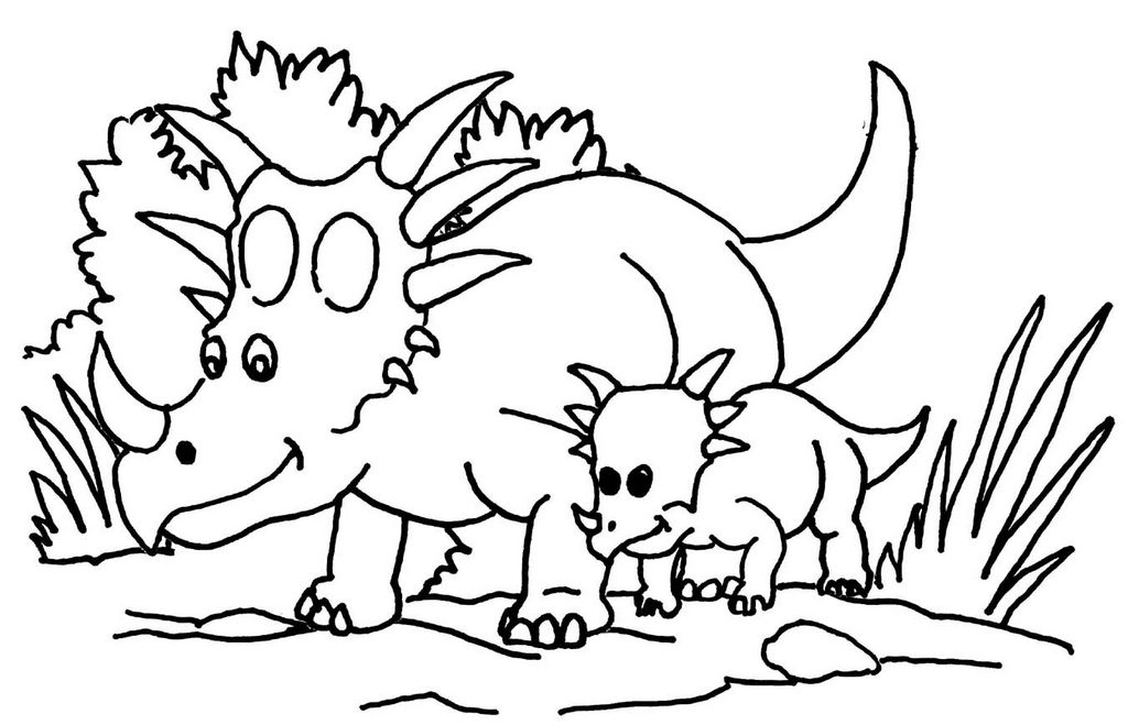 Cartoon Triceratops and Baby Coloring Page
