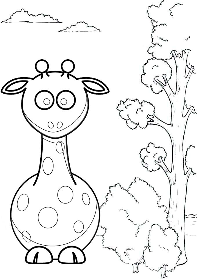 Cute Baby Giraffe Cartoon Coloring Pages for Kids