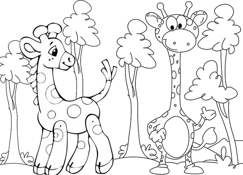 Cute Baby Giraffe Coloring Page
