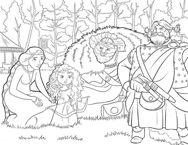 Disney Brave King Fergus Queen elinor Merida and Lord Macguffin Coloring Page