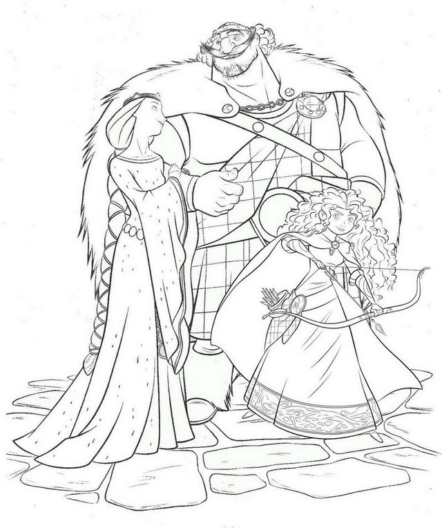 Disney Brave Merida King Fergus Queen Elinor Coloring Page