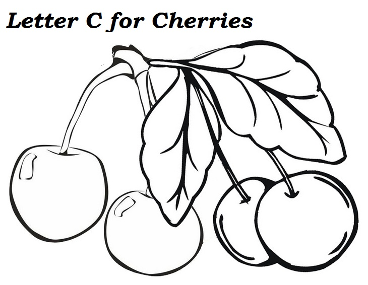 Letter C for cherries Coloring Page
