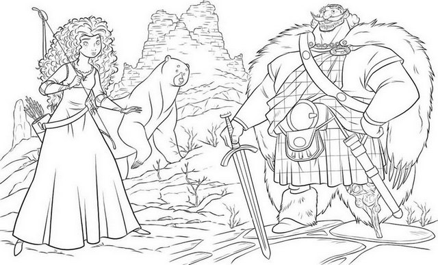 Princess Merida and King Fergus from Disney Brave Coloring Page