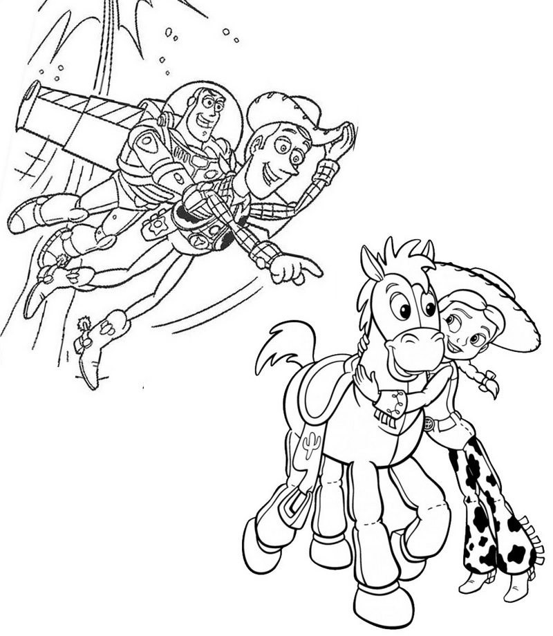 Printable Toy Story Jessie Woody and Buzz Coloring Pages