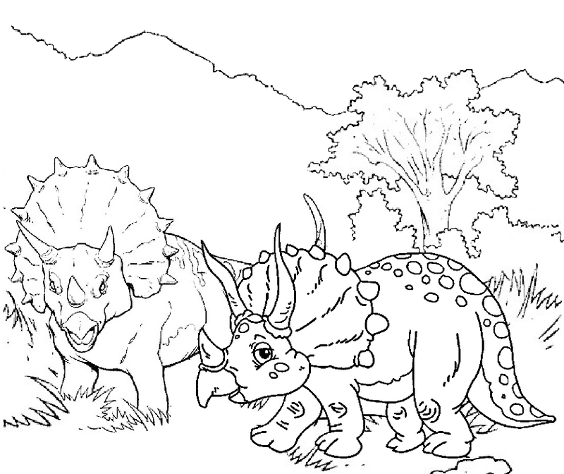 Printable Triceratopsr with Mountain Scenery Coloring Pages for Kids