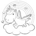 10 Cute and Beautiful Baby Unicorn Coloring Pages in Different Activities
