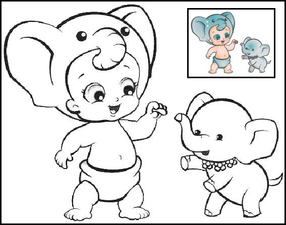Twozies Elephant Coloring Page