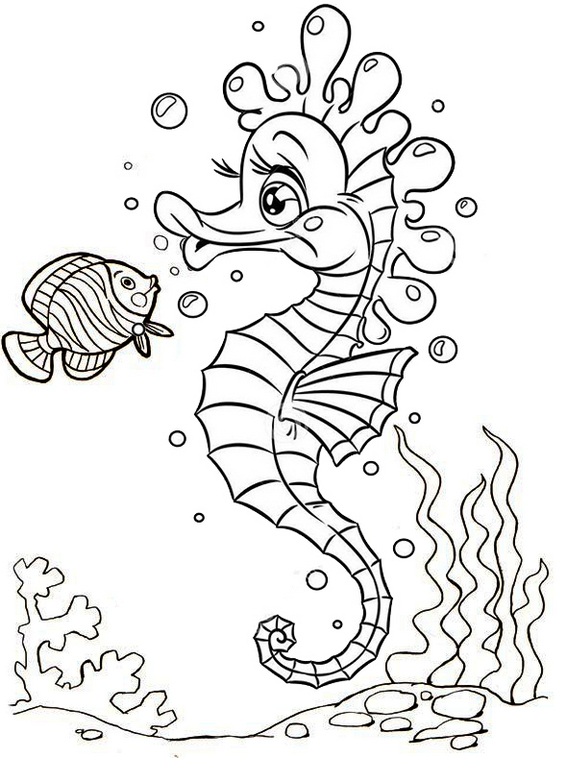 13 Fun Original And Cartoon Baby Seahorse Coloring Pages Coloring