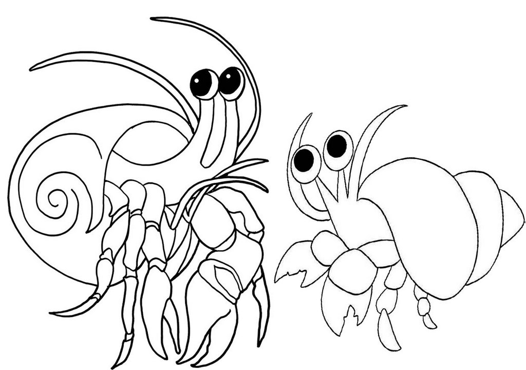 cute hermit crab cartoon coloring page