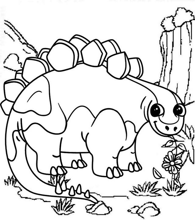 cute stegosaurus coloring page