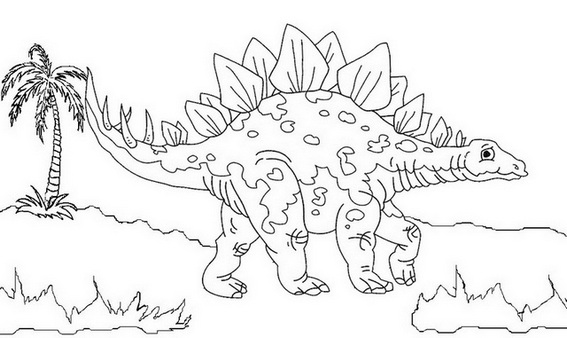 high stegosaurus dino coloring page