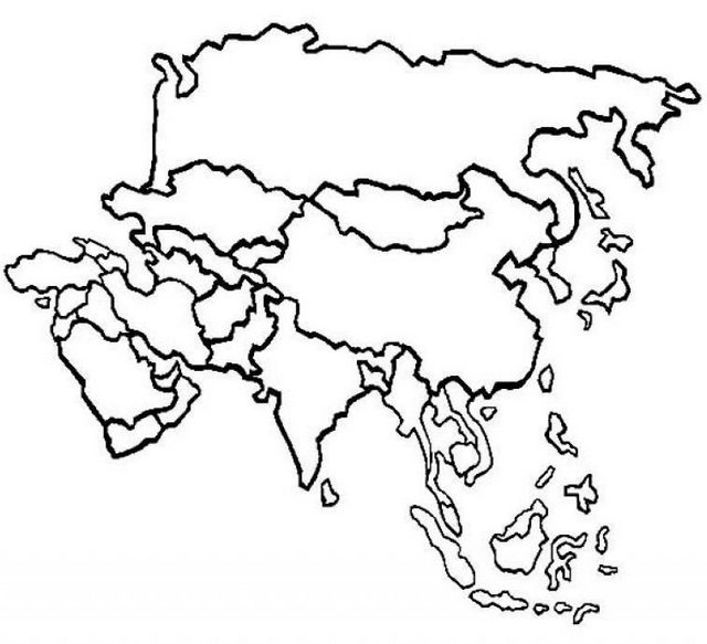 printable political map of Asia coloring page