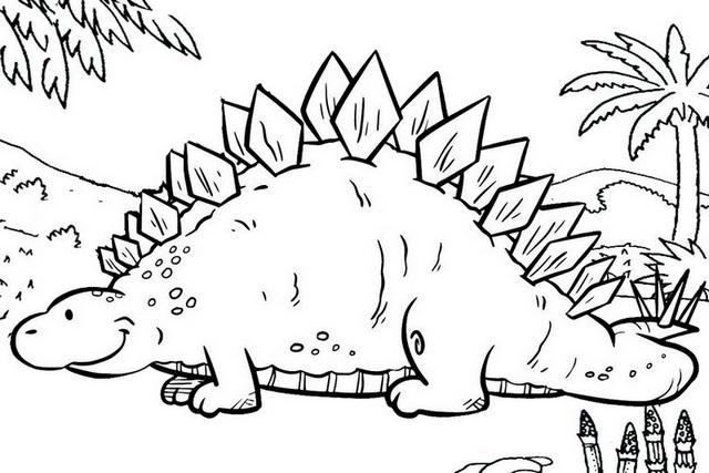 printable stegosaurus coloring page for kids