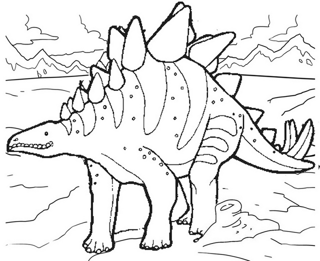 simple stegosaurus coloring page to print