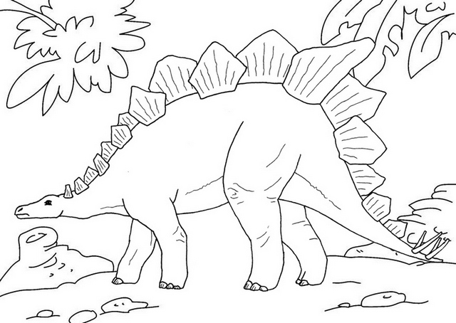 stegosaurus prehistoric dinosaur coloring page