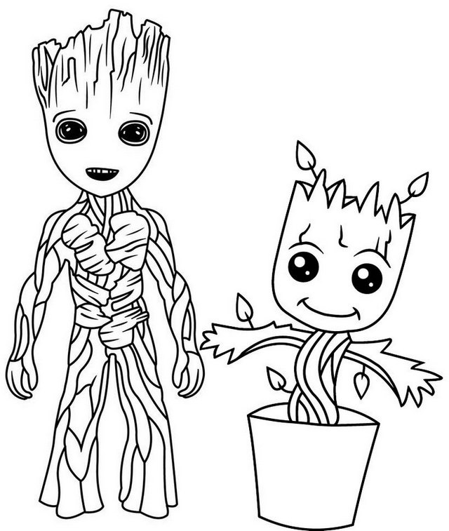 Baby Groot Guardians of the Galaxy Coloring Page