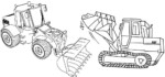 Simple and Cartoon Bulldozer Coloring Pages for Boys