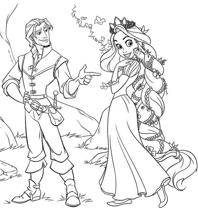 Best Disney Tangled Rapunzel Coloring Page for Little Girls