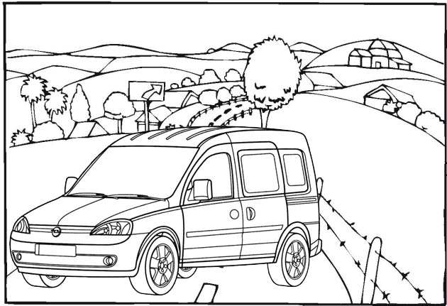 Best Van Car with beautiful village scenery coloring page