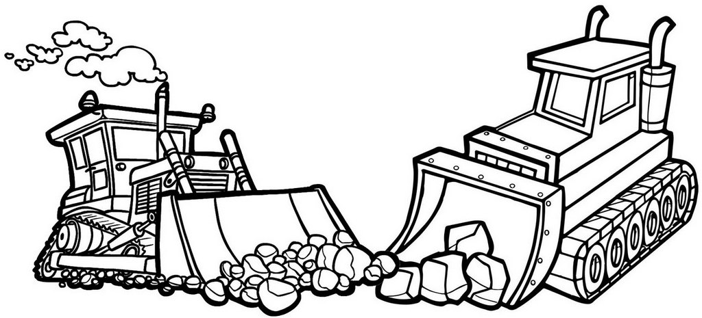 Bulldozer Tracked Tractor Coloring Page